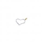 Pingente Ouro 18k Coração Vazado com Ouro Branco 22 mm