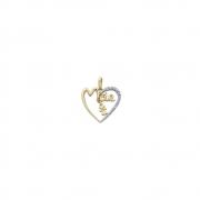Pingente Ouro 18k Coração Vazado Mãe com Menina Pendente e Diamante 17 mm