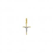 Pingente Ouro 18k Crucifixo com Ródio Branco 15 mm