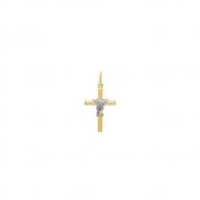 Pingente Ouro 18k Crucifixo Palito com Fio Entrelaçado Rodinado 18 mm