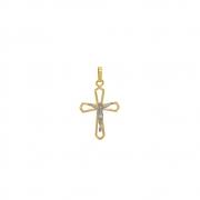 Pingente Ouro 18k Cruz com Cristo 18 mm