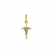 Pingente Ouro 18k Cruz Pequena com Ródio Branco 10 mm