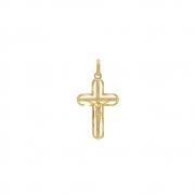 Pingente Ouro 18k Cruz Vazada com Cristo 23 mm