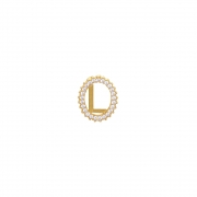 Pingente Ouro 18k Letra L Cravejada com Zircônias Brancas 12 mm