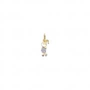 Pingente Ouro 18k Menina de Patins com Zircônias Cravejadas 14 mm
