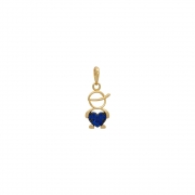 Pingente Ouro 18k Menino com Zircônias Azuis 11 mm