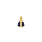 Pingente Ouro 18k N. Sra. Aparecida Pequena com Zircônias Azuis 12 mm