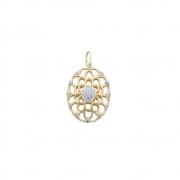 Pingente Ouro 18k Oval com Diamantes 27 mm