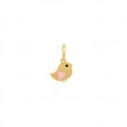 Pingente Ouro 18k Passarinho com Coração Rosa 8 mm