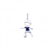 Pingente Prata 925 Menino com Bola Camiseta com Micro Zircônia Azul 21 mm