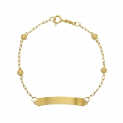 Pulseira Ouro 18k Infantil Chapa com Bolinha Elo Cartier 15 cm