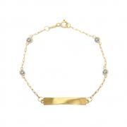 Pulseira Ouro 18k Infantil com Plaquinha Elo Cartier e Zircônia Branca 15 cm