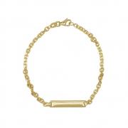 Pulseira Ouro 18k Infantil Plaquinha Elo Cartier 14 cm
