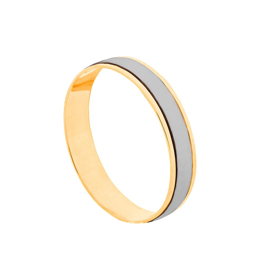 Aliança de Casamento Ouro 10k com Filete em Ródio Branco 4 mm