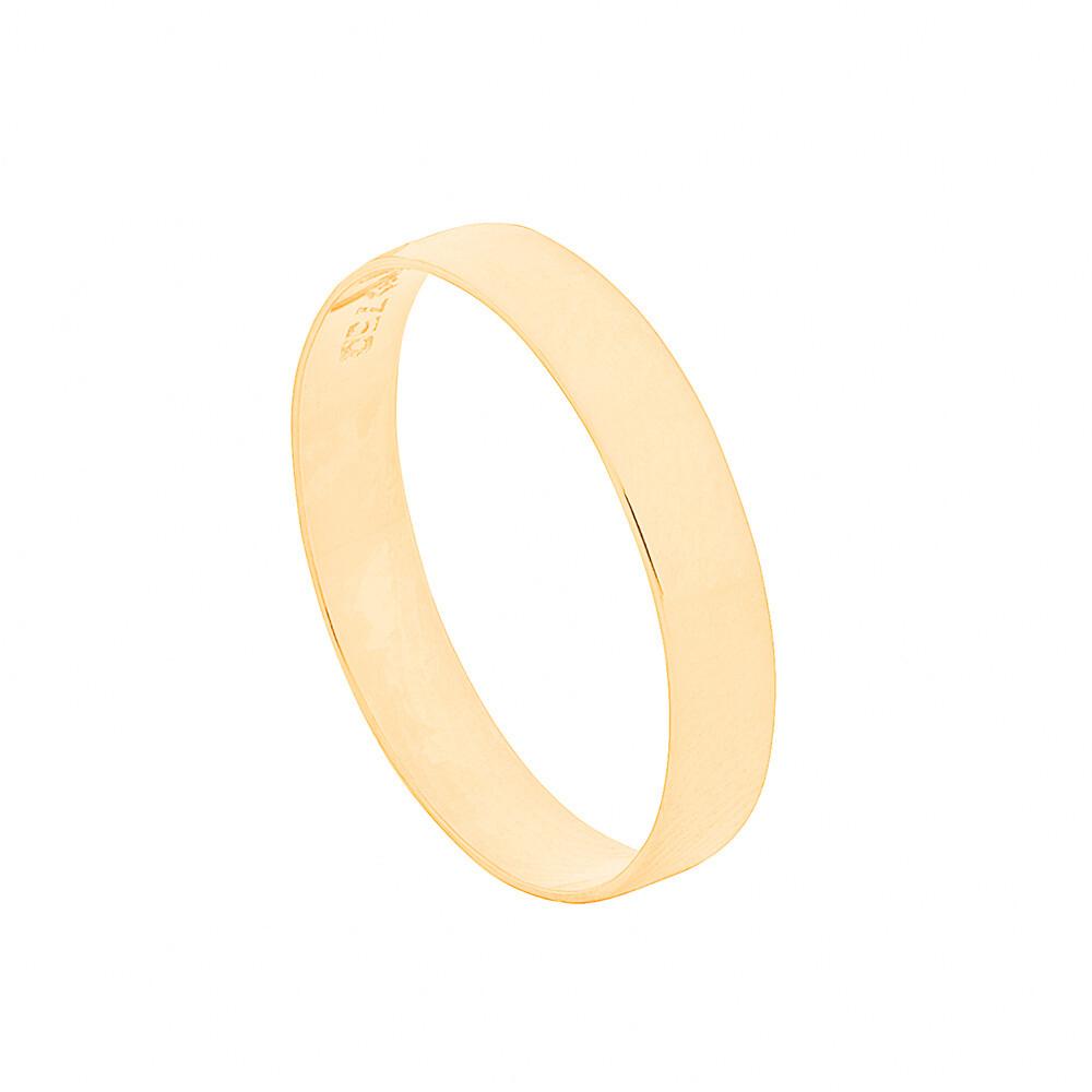 Aliança de Casamento Ouro 18k Reta Lisa 3,5 mm