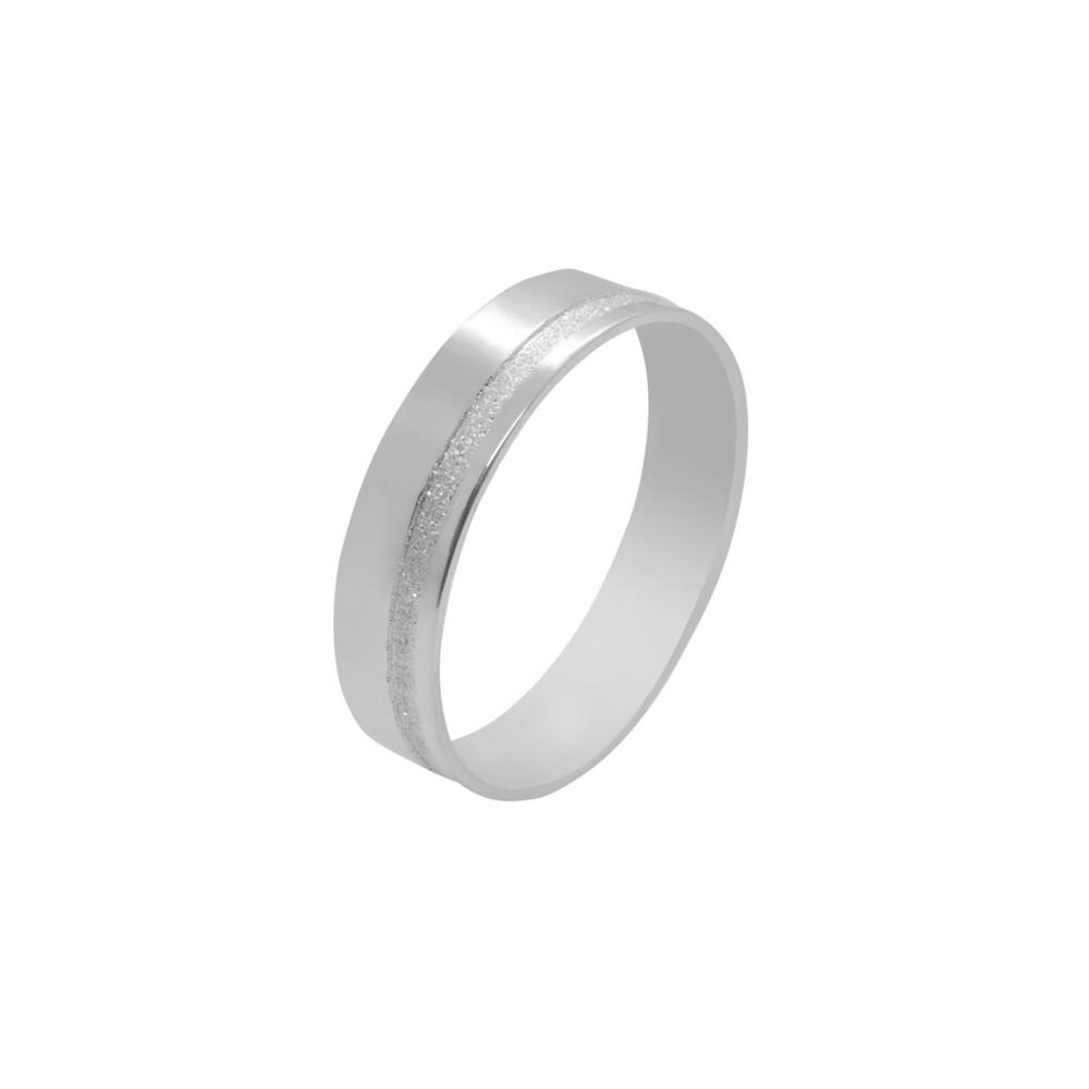 Aliança de Namoro Prata 925 com Friso Diamantado 5 mm