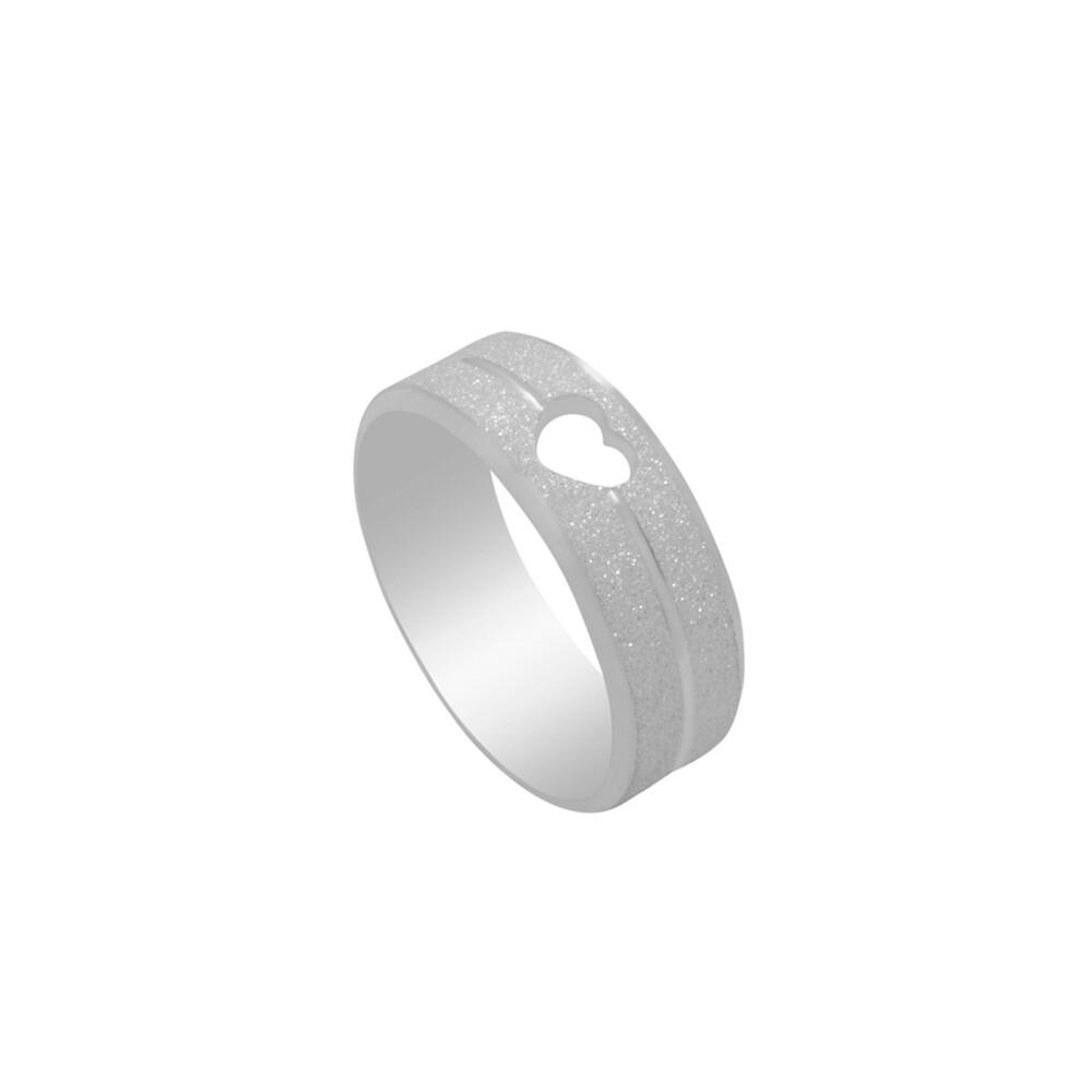 Aliança de Namoro Prata 925 Diamantada com Detalhe de Coração 7 mm