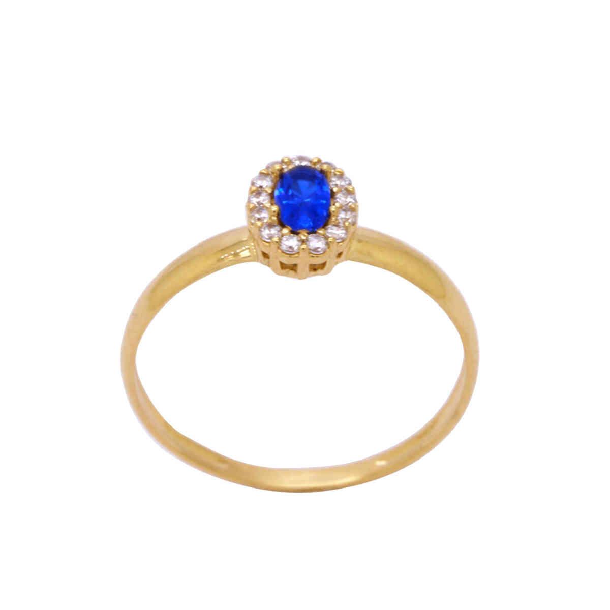 Anel de Formatura Ouro 18k Aro Abaulado com Zircônia Azul e Branca