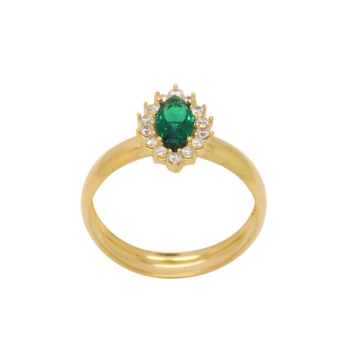 Anel de Formatura Ouro 18k Aro Abaulado com Zircônia Verde e Branca