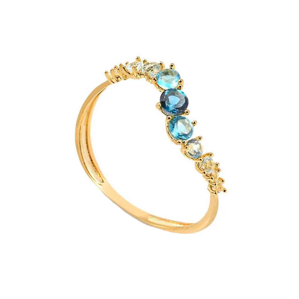 Anel Ouro 10k com Zircônia Azul Degradê