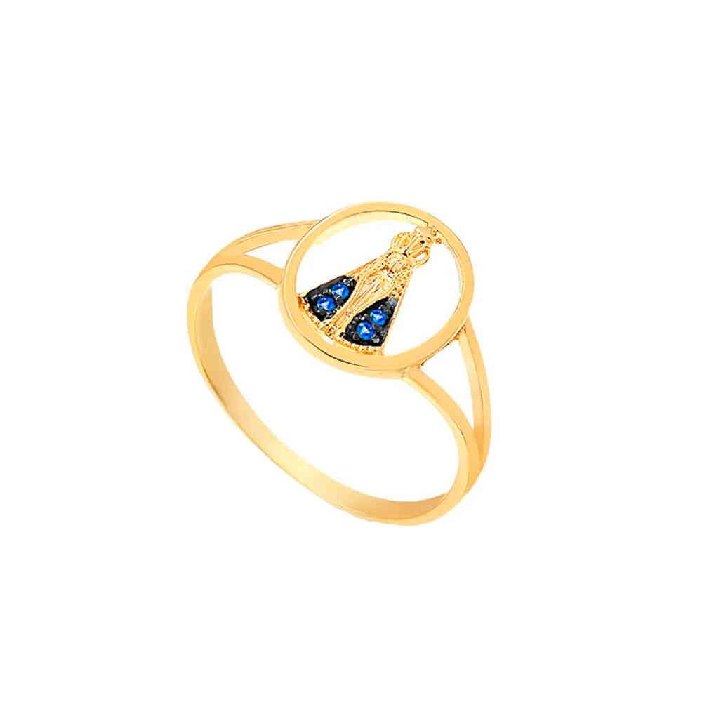 Anel Ouro 10k N. Sra. Aparecida com Zircônias Azuis