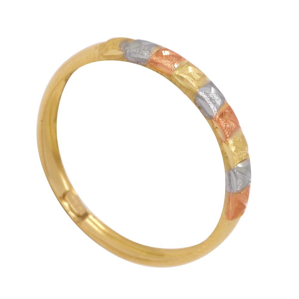 Anel Ouro 18k Abaulado Tricolor