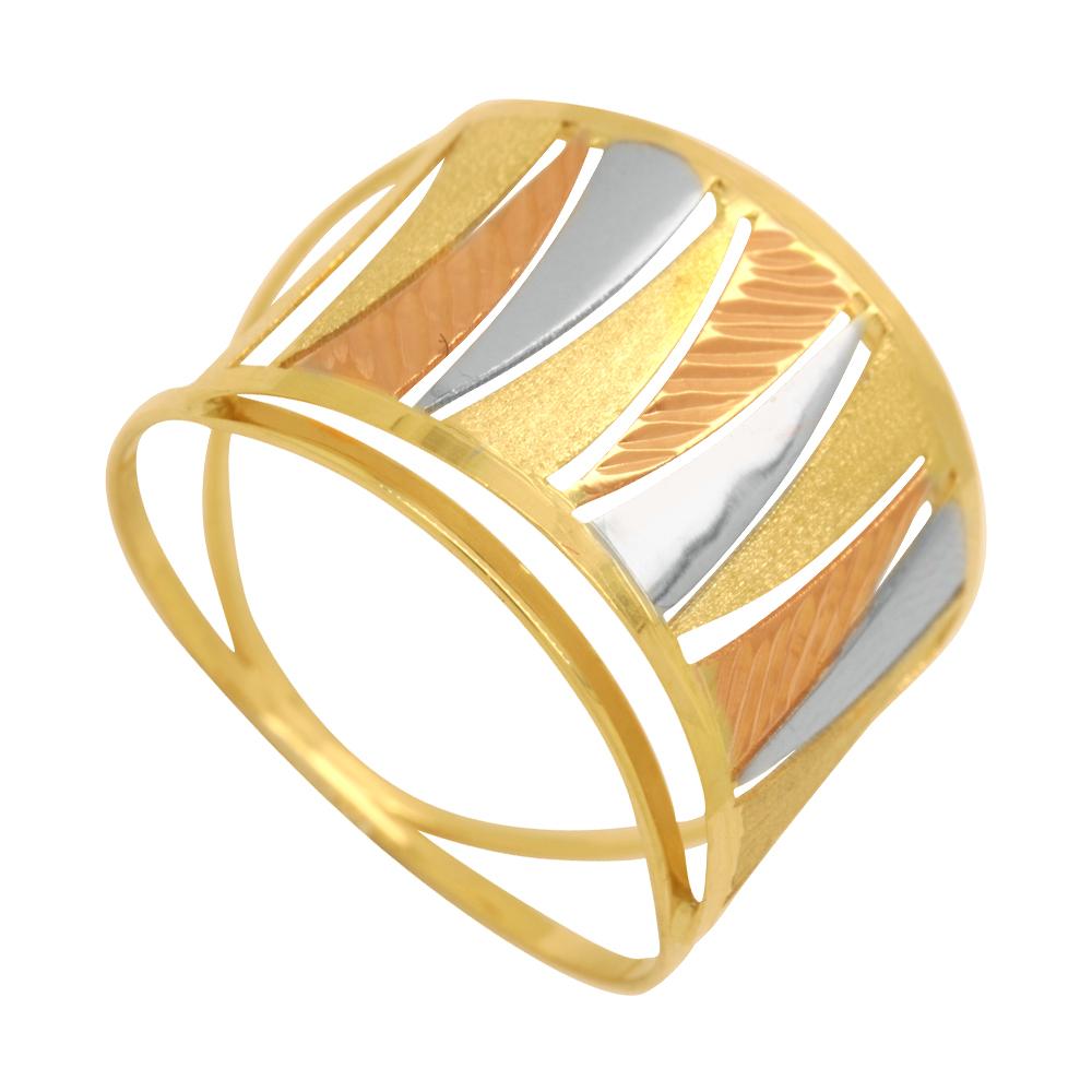 Anel Ouro 18k Duplo Abaulado Tricolor