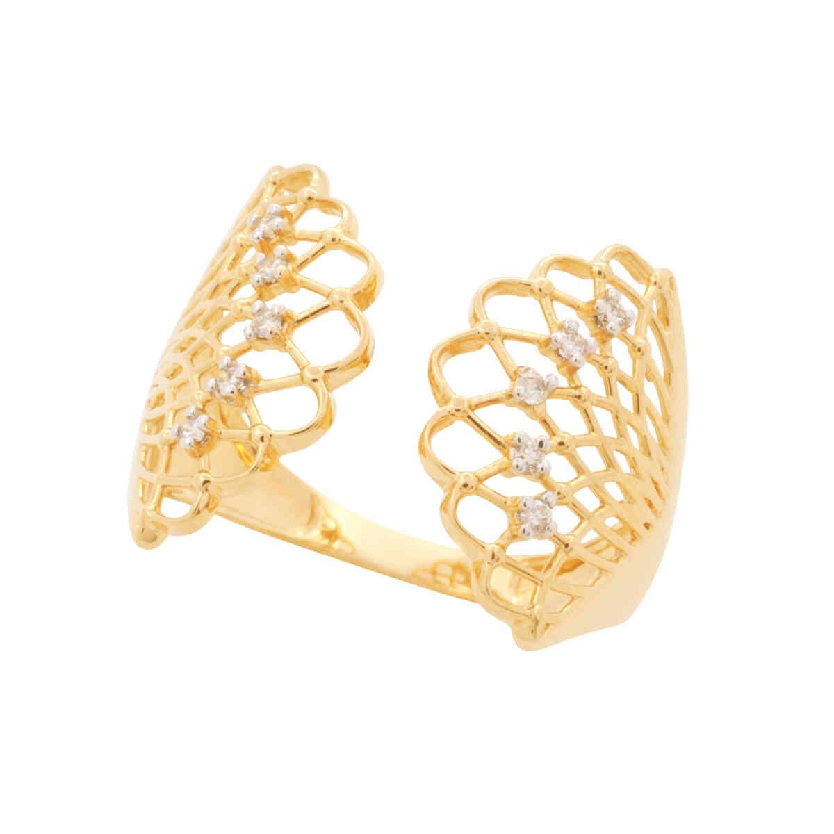 Anel Ouro 18k Leque Vazado com Diamantes