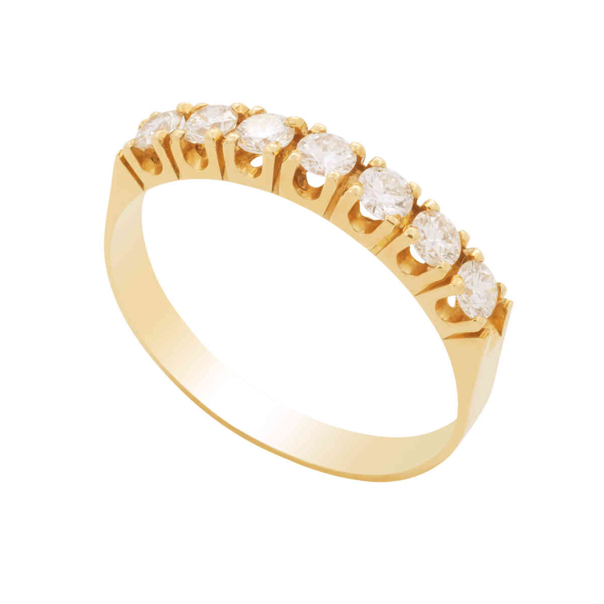 Anel Ouro 18k Meia Aliança com 7 Diamantes com 8 Pontos Cada