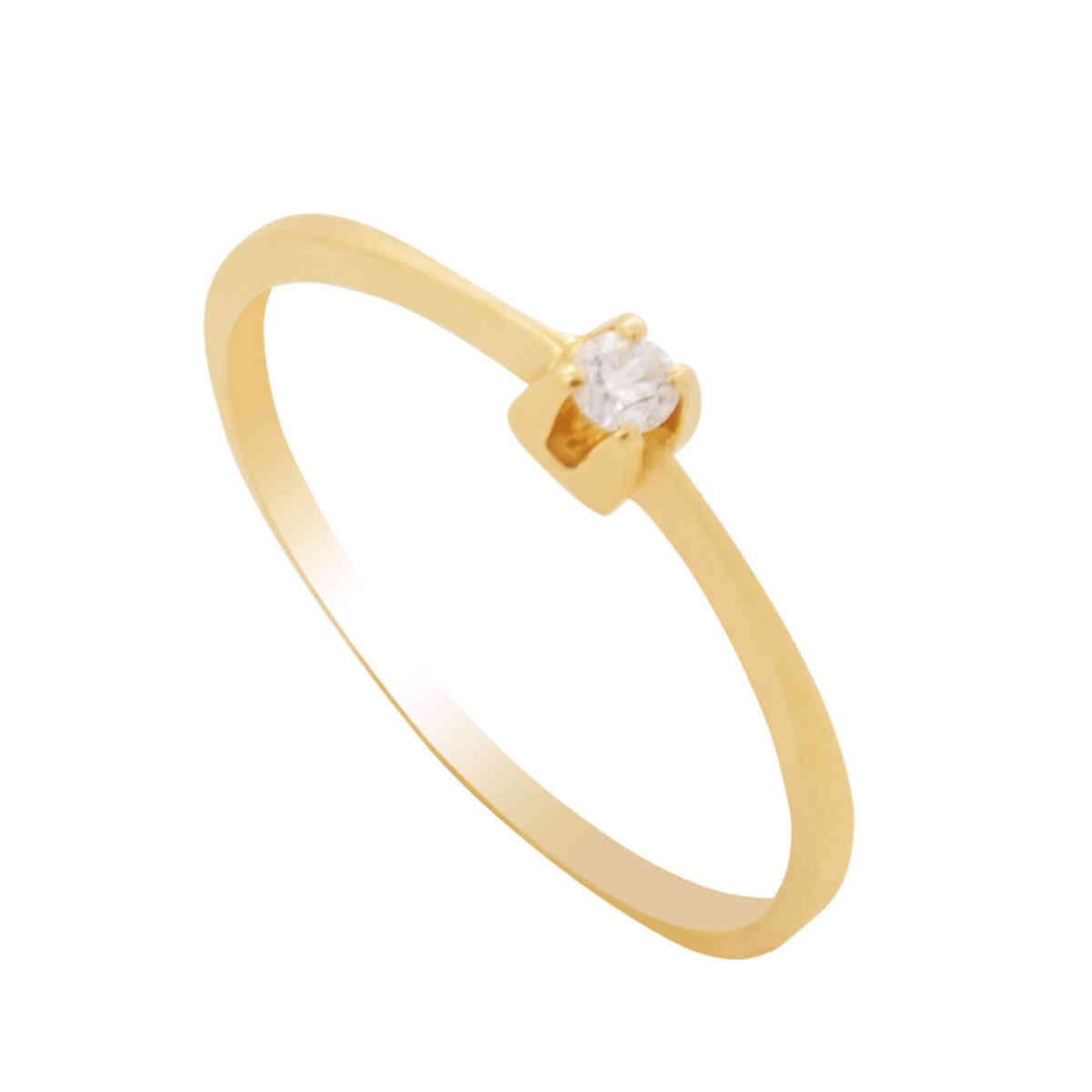 Anel Ouro 18k Solitário com Diamante
