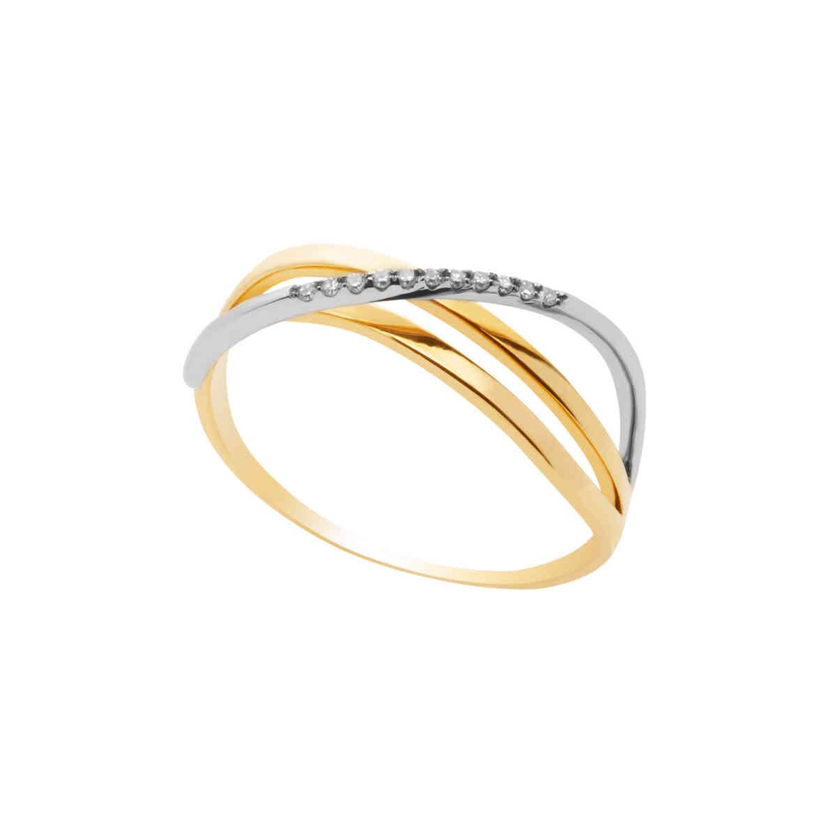 Anel Ouro 18k Transpassado com Detalhe em Ouro Branco com Diamantes