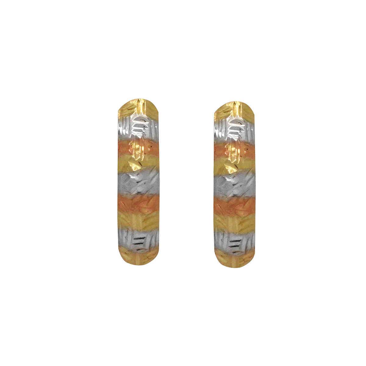 Brinco Ouro 18k 3 Tons Abaulado
