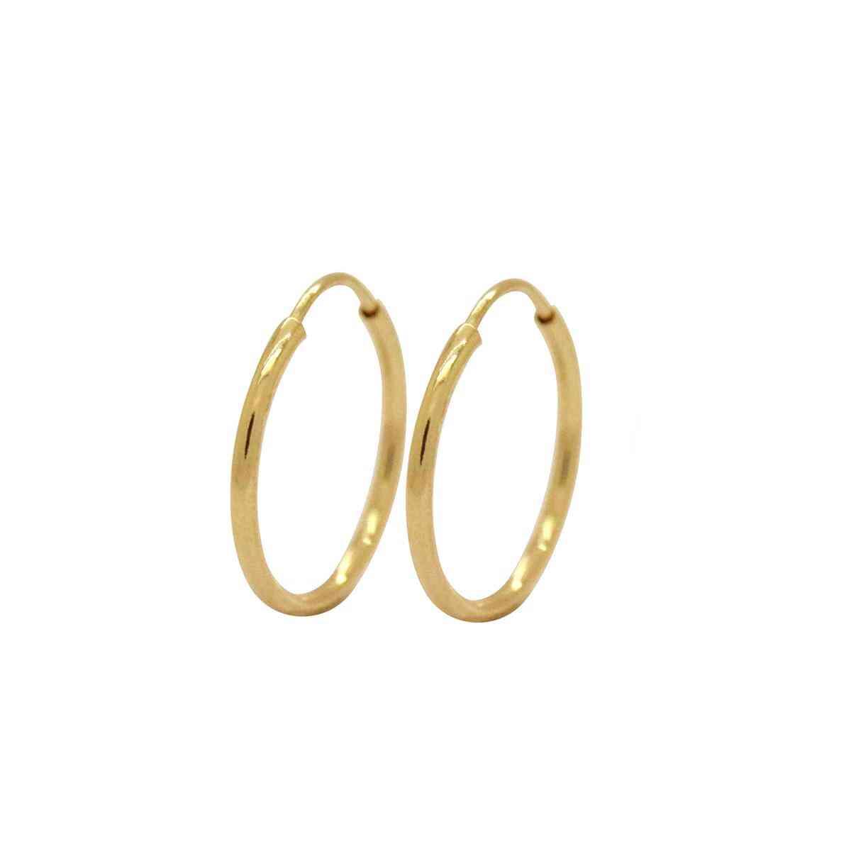 Brinco Ouro 18k Argola Tradicional Lisa 13 mm