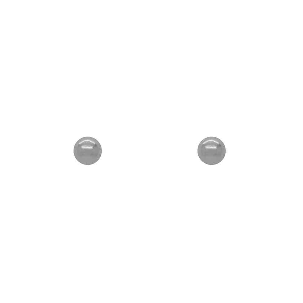 Brinco Ouro 18k Branco Bolinha Oca Infantil 3 mm