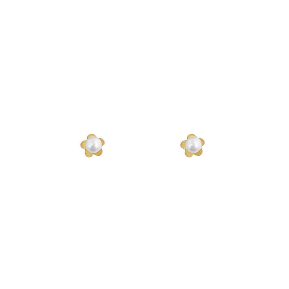 Brinco Ouro 18k Flor com Pérola 3 mm