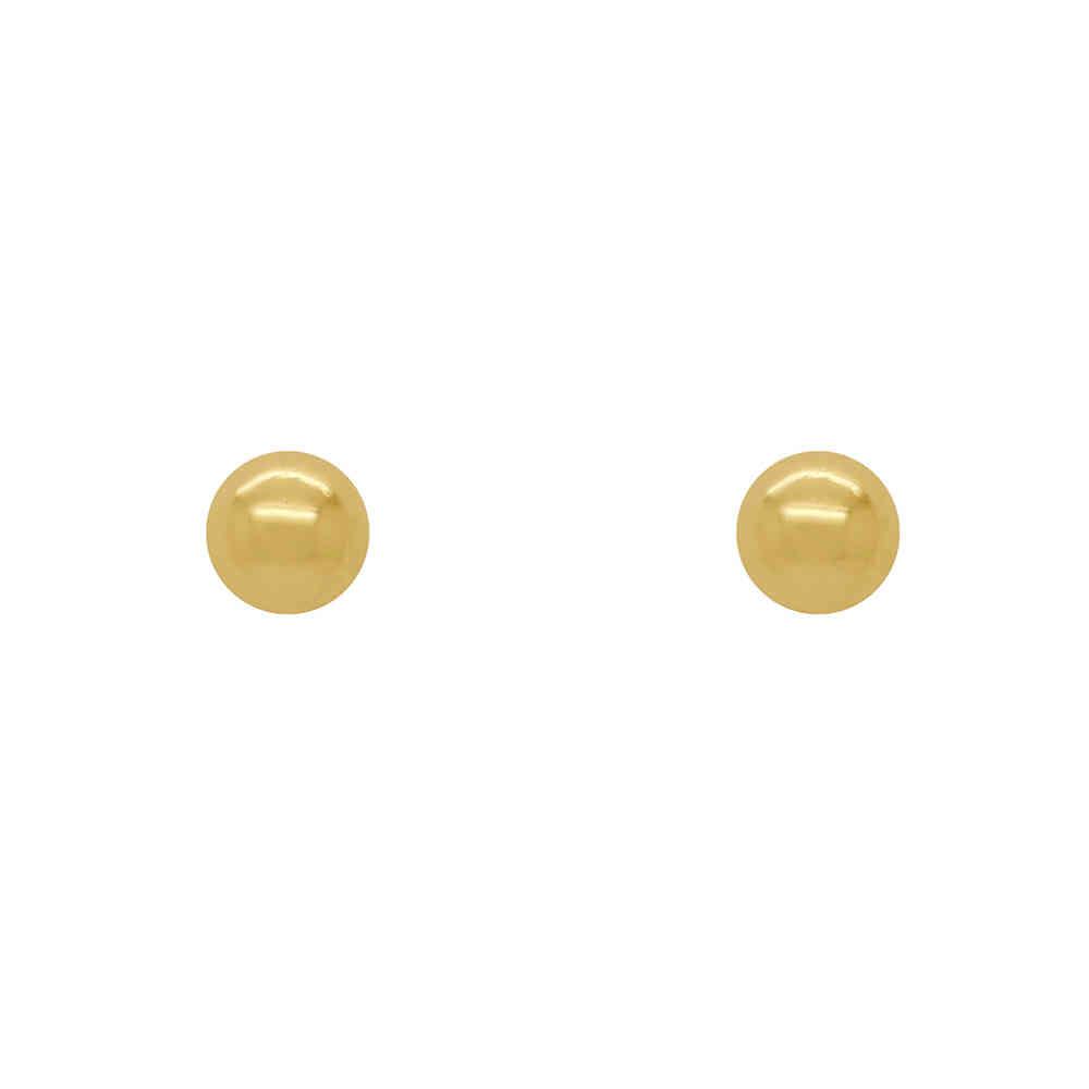 Brinco Ouro 18k Infantil Bolinha Oca 2,5 mm