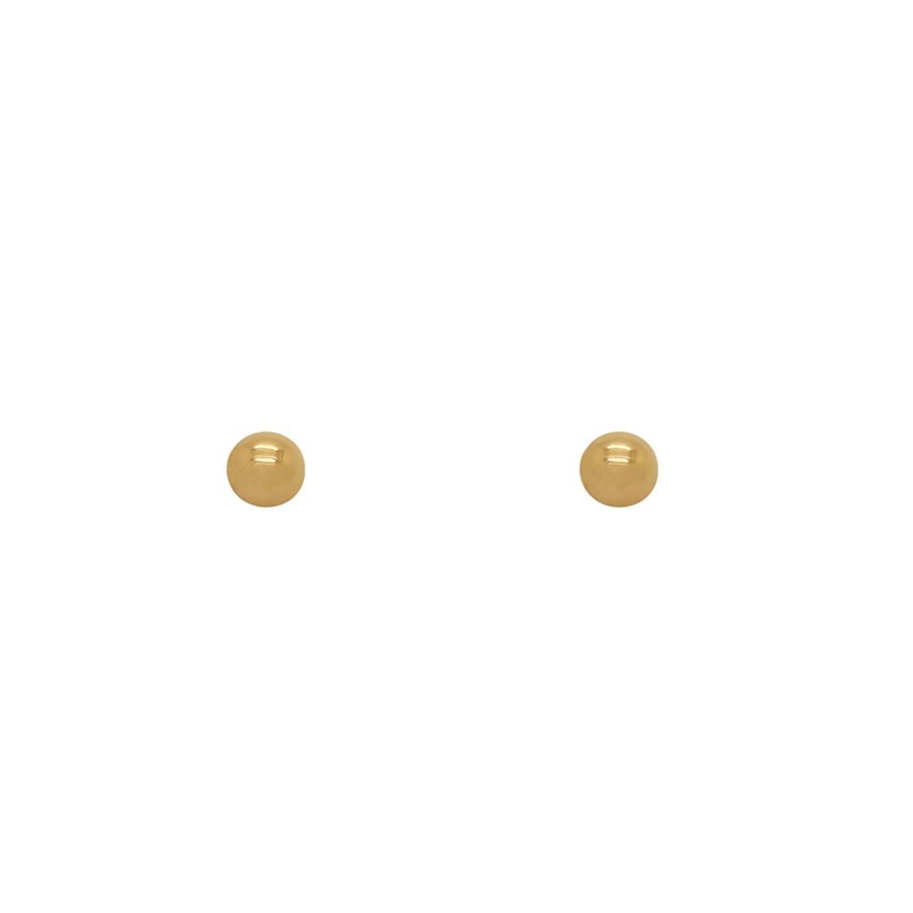 Brinco Ouro 18k Infantil Bolinha Oca 4 mm