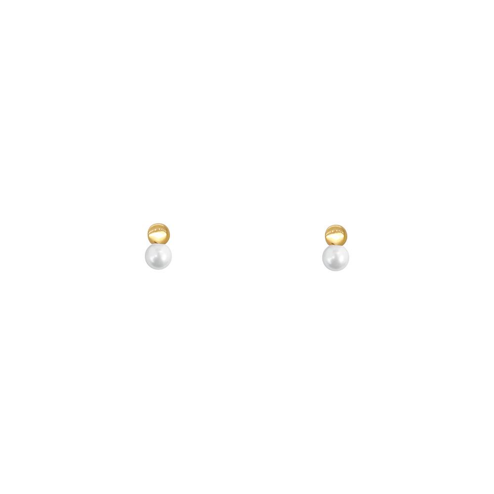 Brinco Ouro 18k Infantil Chapa e Pérola 5 mm