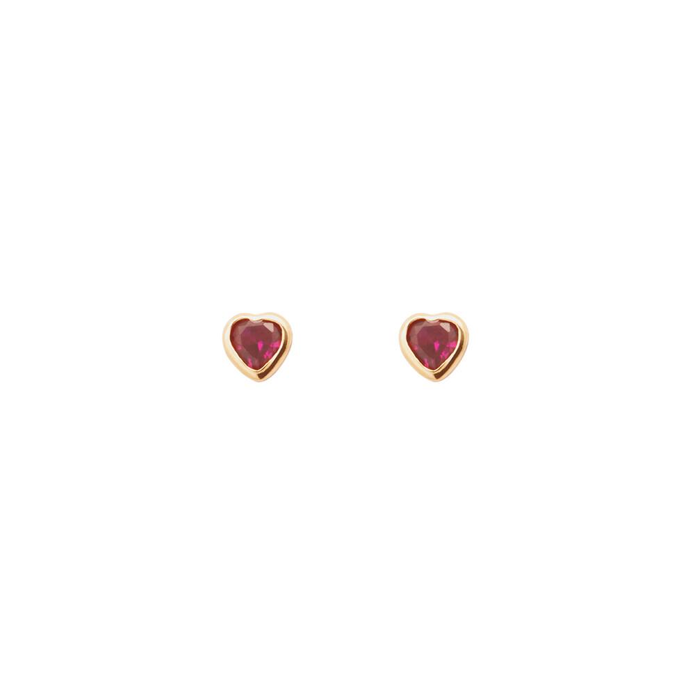 Brinco Ouro 18k Infantil Coração com Zircônia 3 mm