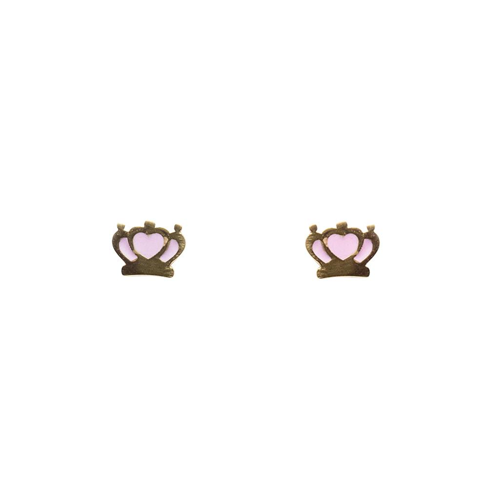 Brinco Ouro 18k Infantil Coroa com Coração Rosa 7 mm