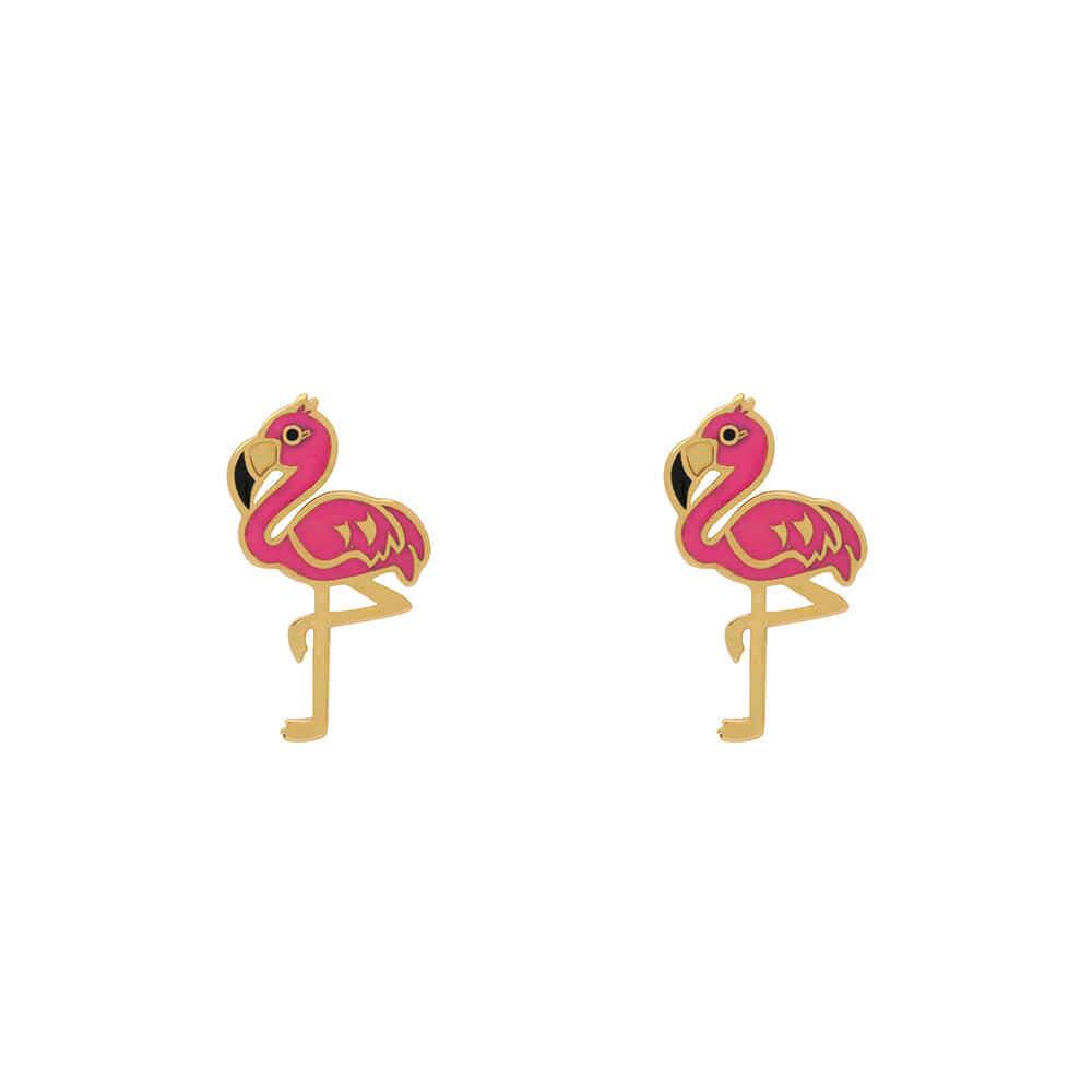 Brinco Ouro 18k Infantil Flamingo Rosa 15 mm