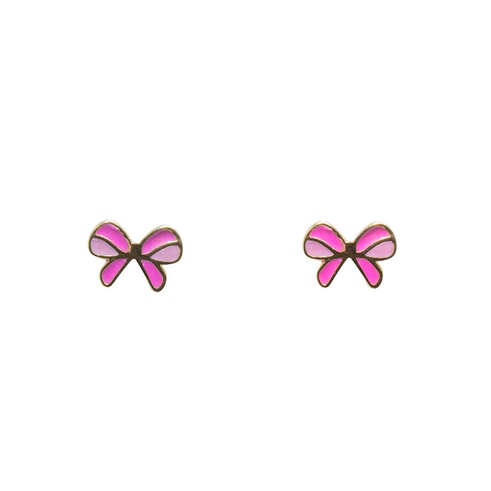 Brinco Ouro 18k Infantil Laço Rosa 8 mm