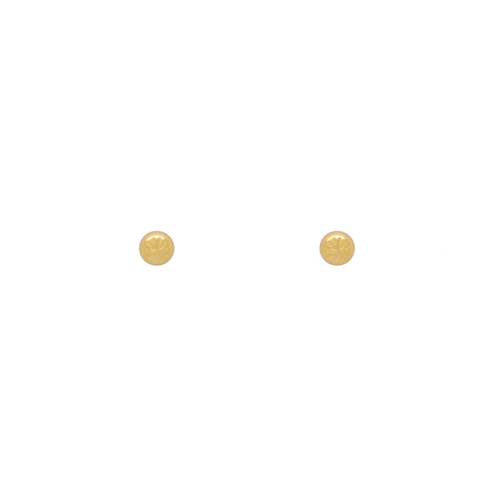Brinco Ouro 18k Infantil Meia Bolinha Trabalhada 3 mm