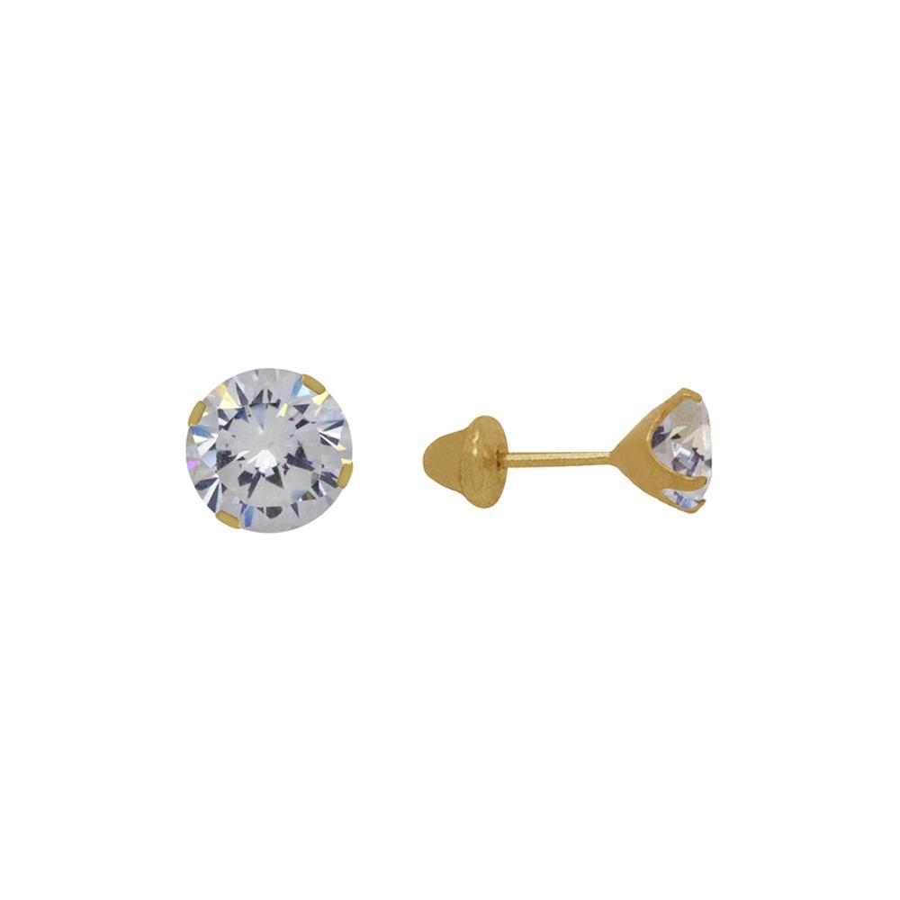 Brinco Ouro 18k Infantil Ponto de Luz 2 mm
