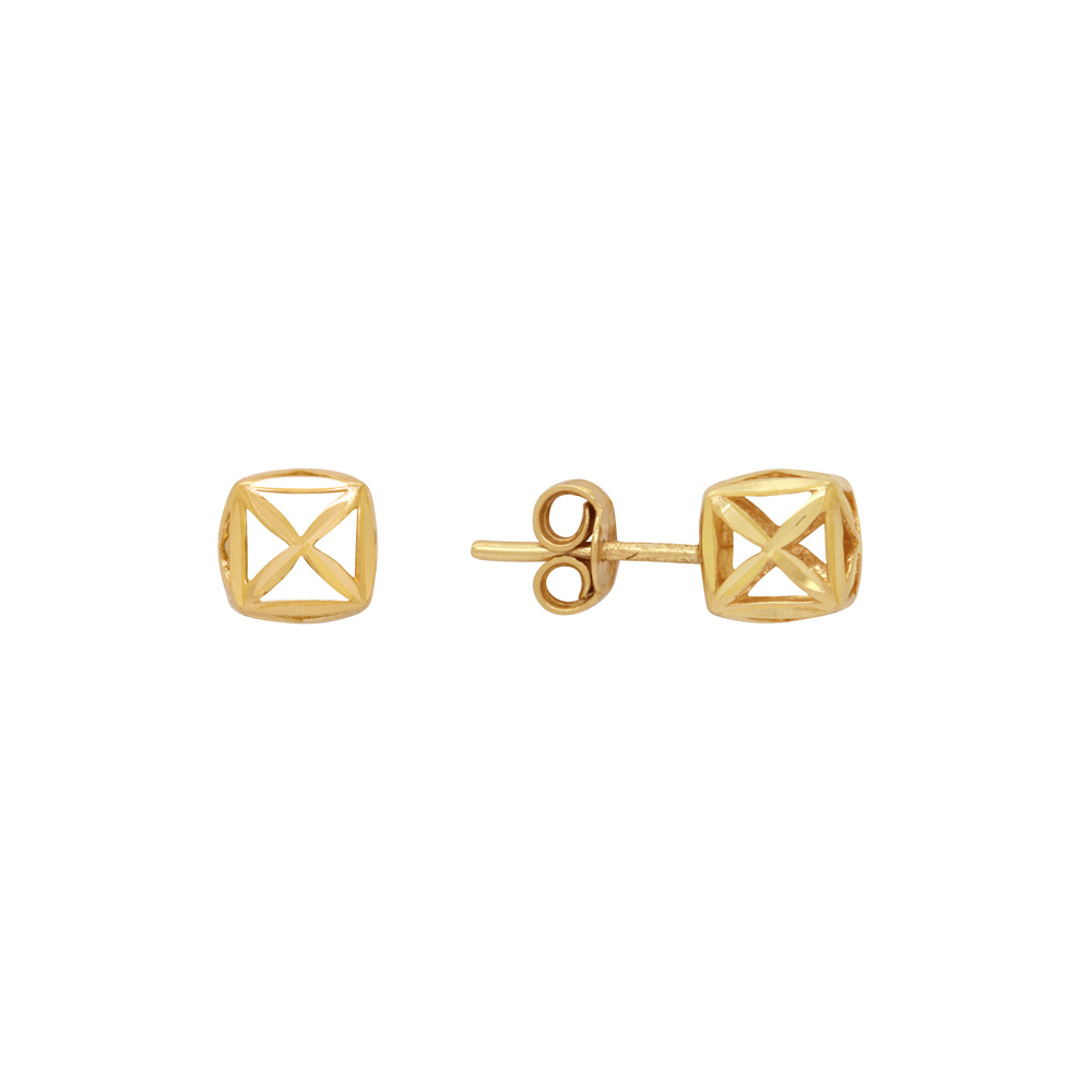 Brinco Ouro 18k Quadrado 8 mm