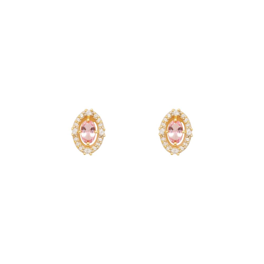 Brinco Ouro 18k Topázio Rosa e Branco 10 mm
