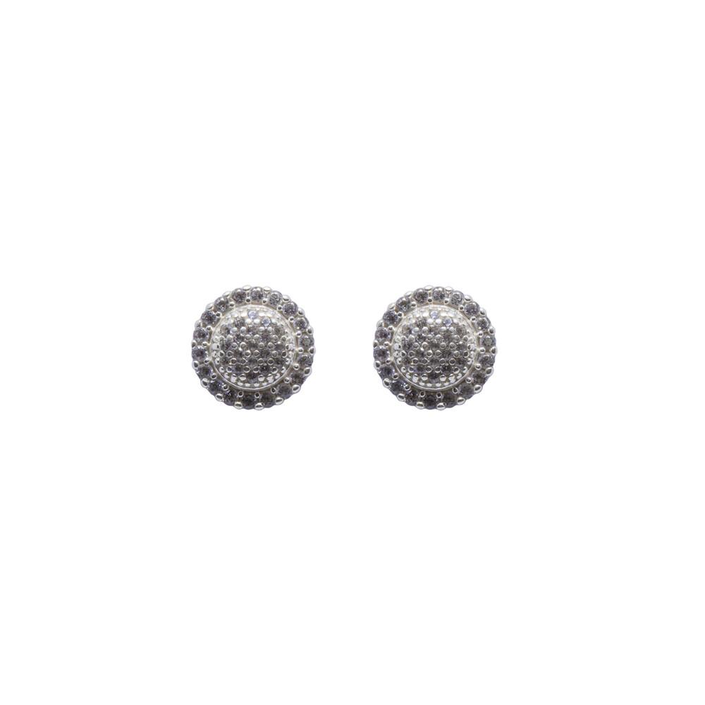 Brinco Prata 925 Redondo com Zircônias 10 mm