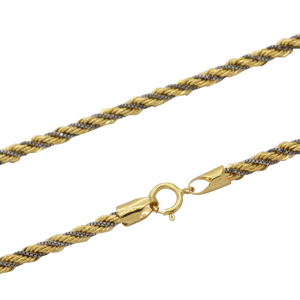 Corrente Ouro 18k Cordão Bicolor 2,7 mm 50 cm