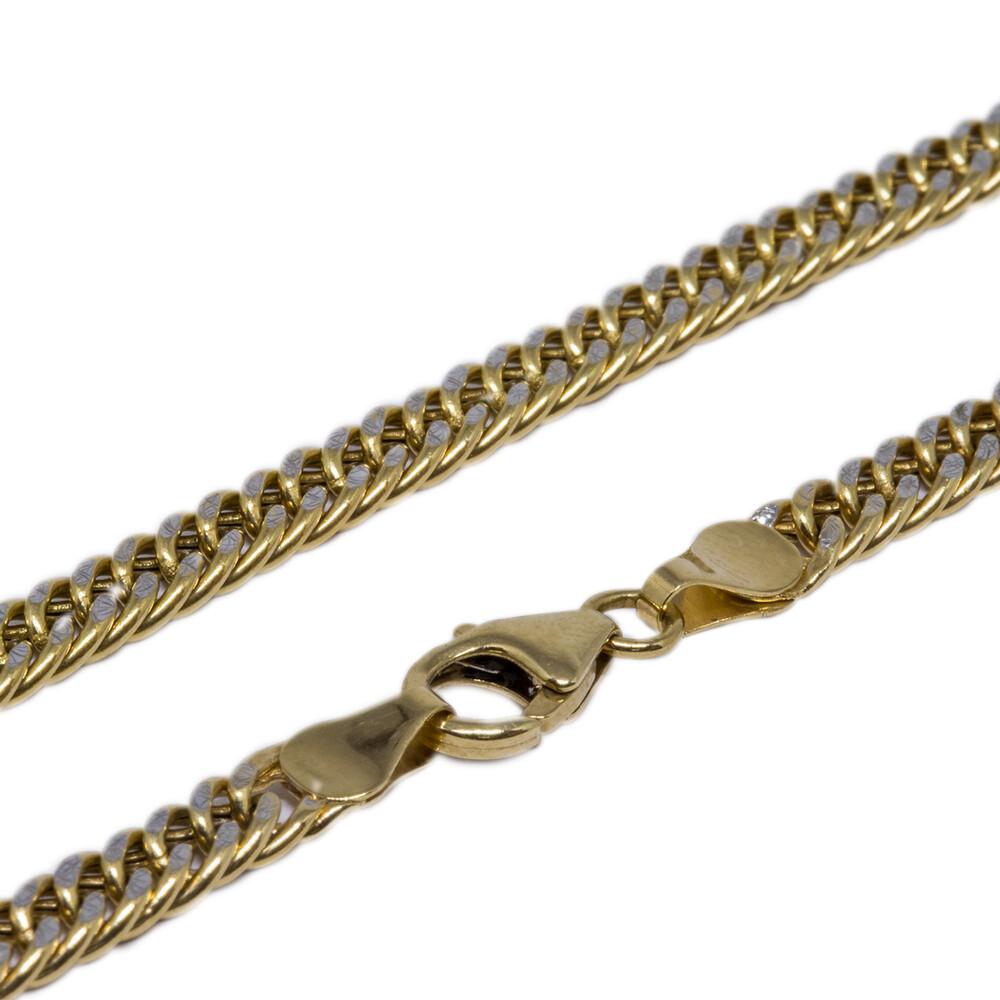 Corrente Ouro 18k Elo Groumet com Detalhe em Ródio Branco 45 cm