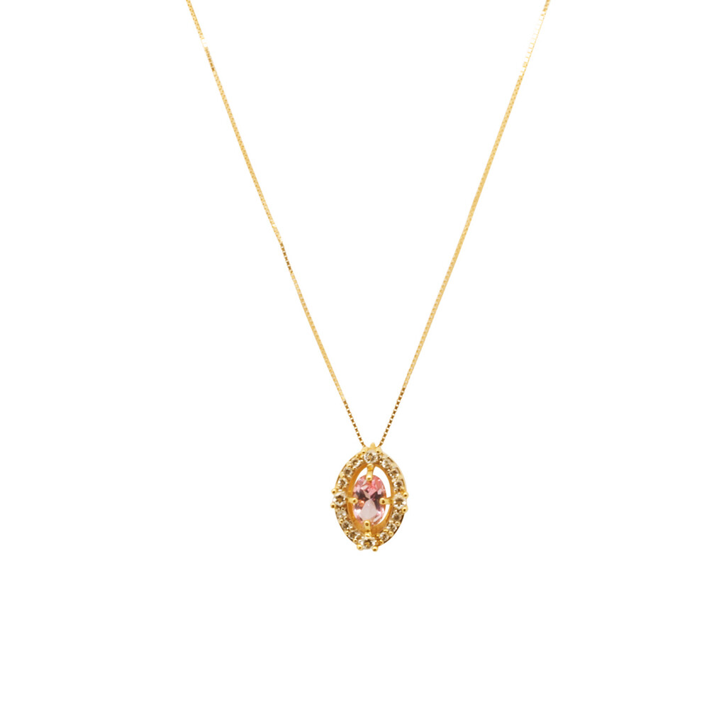Gargantilha Ouro 18k com Topázio Baby Pink e Topázio Branco Veneziana 45 cm